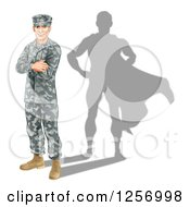 Clipart Of A Caucasian Male Soldier With Folded Arms And A Super Hero Shadow Royalty Free Vector Illustration