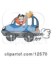 Sink Plunger Mascot Cartoon Character Driving A Blue Car And Waving