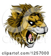 Clipart Of An Aggressive Male Lion Roaring Mascot Royalty Free Vector Illustration by AtStockIllustration