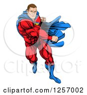 Clipart Of A Cacuasian Muscular Super Hero Man Running And Punching Royalty Free Vector Illustration by AtStockIllustration