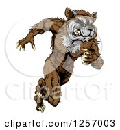 Clipart Of A Muscular Raccoon Man Mascot Running Upright Royalty Free Vector Illustration by AtStockIllustration