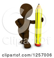 3d Brown Man With A Giant Pencil
