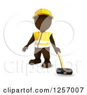 Clipart Of A 3d Brown Man Worker With A Sledgehammer Royalty Free Illustration by KJ Pargeter