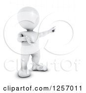 Clipart Of A 3d White Man Pointing Royalty Free Illustration
