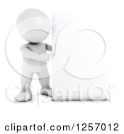Clipart Of A 3d White Man Pointing Around A Blank Sign Royalty Free Illustration by KJ Pargeter