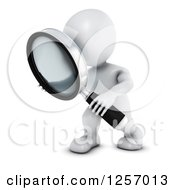 3d White Man Searching With A Magnifying Glass