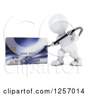 Clipart Of A 3d White Man Using A Pry Bar To Hack Into A Credit Card Account Royalty Free Illustration
