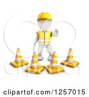 3d White Man Construction Worker Standing Behind Cones