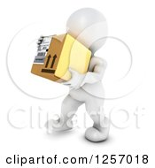 Clipart Of A 3d White Man Carrying A Box Royalty Free Illustration