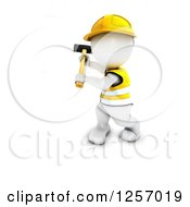 Clipart Of A 3d White Man Construction Worker Swinging A Sledgehammer Royalty Free Illustration