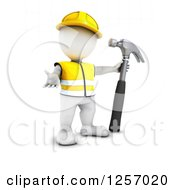 Clipart Of A 3d White Man Construction Worker With A Giant Hammer Royalty Free Illustration