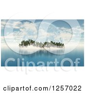 Clipart Of A 3d Tropical Island With Palm Trees And A Fictional Planet Royalty Free Illustration