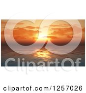 Clipart Of A 3d Orange Sunset Sky Over An Ocean Royalty Free Illustration