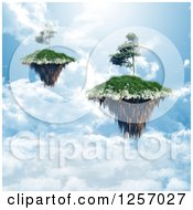 Clipart Of 3d Floating Islands With Trees Over Clouds Royalty Free Illustration by KJ Pargeter