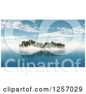 Clipart Of A 3d Tropical Island With Palm Trees Royalty Free Illustration by KJ Pargeter
