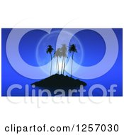 Clipart Of A 3d Tropical Island With A Full Moon And Calm Seas At Night Royalty Free Illustration by KJ Pargeter