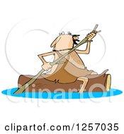 Caveman Rowing A Log Down A River