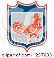 Clipart Of A Rooster In An Orange Gray Blue And White Shield Royalty Free Vector Illustration