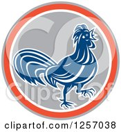 Clipart Of A Blue Rooster In A Gray Orange And White Circle Royalty Free Vector Illustration