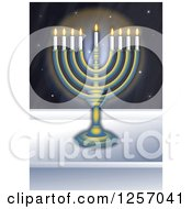 Clipart Of A Chanukah Menorah In A Window At Night Royalty Free Illustration