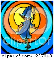 Clipart Of A Blue Bell Flower Girl Over Colorful Circles Royalty Free Illustration