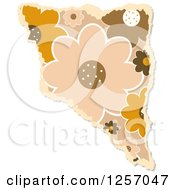 Clipart Of A Torn Piece Of Brown Floral Scrapbooking Paper On White Royalty Free Illustration