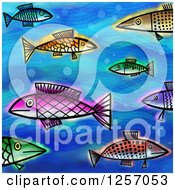 Clipart Of A Background Of Colorful Painted Fish On Blue Royalty Free Illustration by Prawny