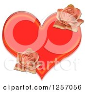 Clipart Of A Red Heart And Pink Roses Royalty Free Illustration by Prawny