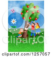 Clipart Of Happy Caucasian Children Planting An Apple Tree Royalty Free Illustration by Prawny