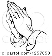 Clipart Of Black And White Prayer Hands Royalty Free Vector Illustration by Prawny #COLLC1257058-0089