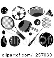 Clipart Of Black And White Sports Accessories Royalty Free Vector Illustration