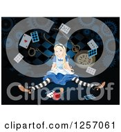 Clipart Of Alice In Wonderland Shrinking With Large Items Royalty Free Vector Illustration