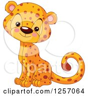 Clipart Of A Cute Baby Cheetah Sitting Royalty Free Vector Illustration