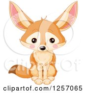 Clipart Of A Cute Fennec Fox Sitting Royalty Free Vector Illustration
