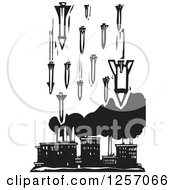 Clipart Of A Black And White Woodcut Factory Being Bombed With Missiles Royalty Free Vector Illustration