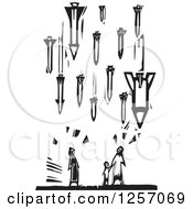 Clipart Of A Black And White Woodcut Civilian Family Being Bombed With Missiles Royalty Free Vector Illustration