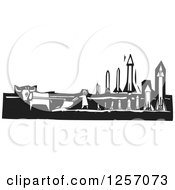 Clipart Of A Black And White Woodcut Plowing Farmer In A Field With Missiles Royalty Free Vector Illustration by xunantunich