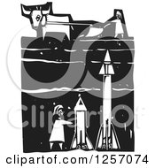Black And White Woodcut Plowing Farmer And Cow With Missiles Underground