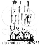 Clipart Of A Black And White Woodcut Civilian And Missiles Bombing Houses Royalty Free Vector Illustration by xunantunich