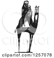 Clipart Of A Black And White Woodcut Death Skeleton Drinking Wine On A Camel Royalty Free Vector Illustration