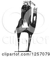 Clipart Of A Black And White Woodcut Grim Reaper Skeleton Holding A Scythe On A Camel Royalty Free Vector Illustration