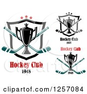 Clipart Of Hockey Club Trophy Cups Over Crossed Sticks And Shields Royalty Free Vector Illustration