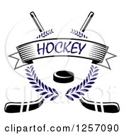 Clipart Of A Blue Laurel Wreath With A Puck And Text Banner Over Crossed Hockey Sticks Royalty Free Vector Illustration