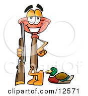 Clipart Picture Of A Sink Plunger Mascot Cartoon Character Duck Hunting Standing With A Rifle And Duck by Toons4Biz