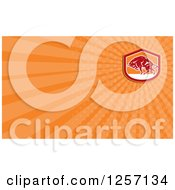 Clipart Of A Woodcut Charging Bull Business Card Design Royalty Free Illustration by patrimonio