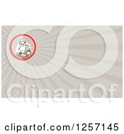 Clipart Of A Retro Male Chef Carving Meat Business Card Design Royalty Free Illustration