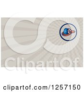 Clipart Of A Retro American Flag Patterned Fireman Hat Business Card Design Royalty Free Illustration