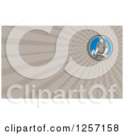 Clipart Of A Retro Union Worker Carrying A Sledgehammer Business Card Design Royalty Free Illustration by patrimonio