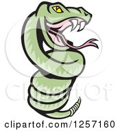Clipart Of A Cartoon Green Rattle Snake Coiled Royalty Free Vector Illustration by patrimonio
