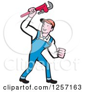 Poster, Art Print Of Cartoon Caucasian Male Plumber Holding Up A Monkey Wrench